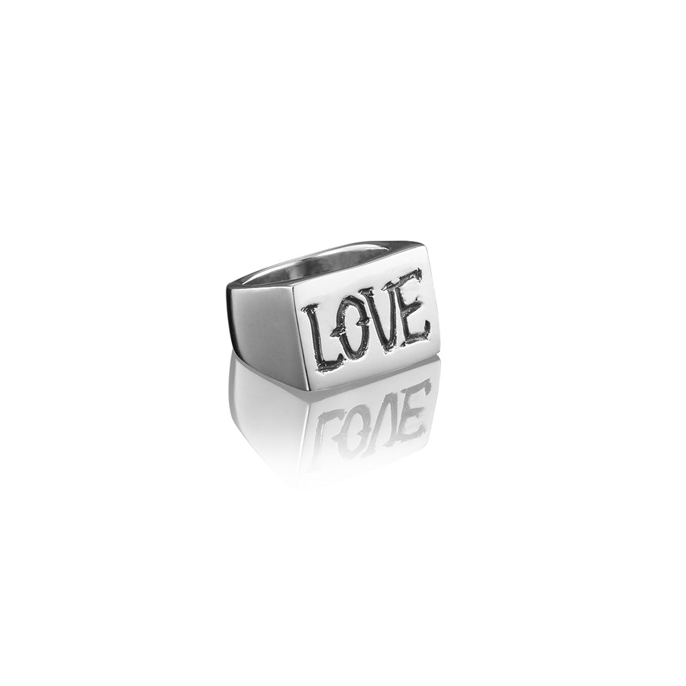 Love Rectangular Signet Ring