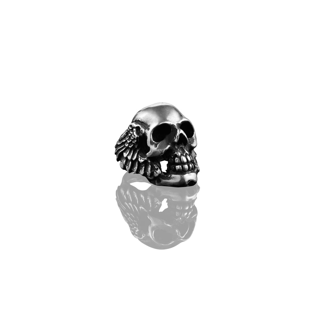 Winged Skull Mens Ring