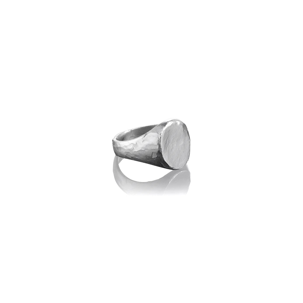 Small Hammered Oval Signet Ring