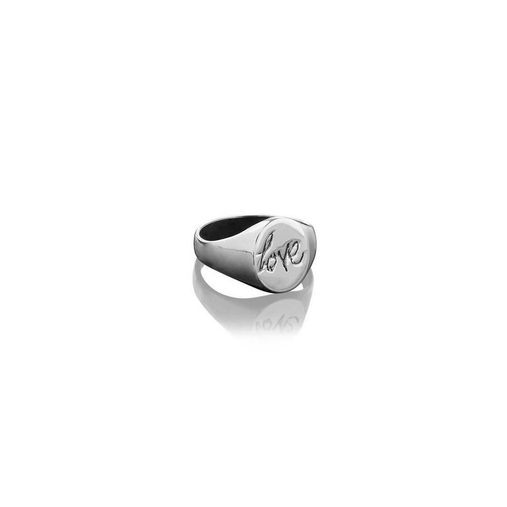 Small Oval Love Signet Ring