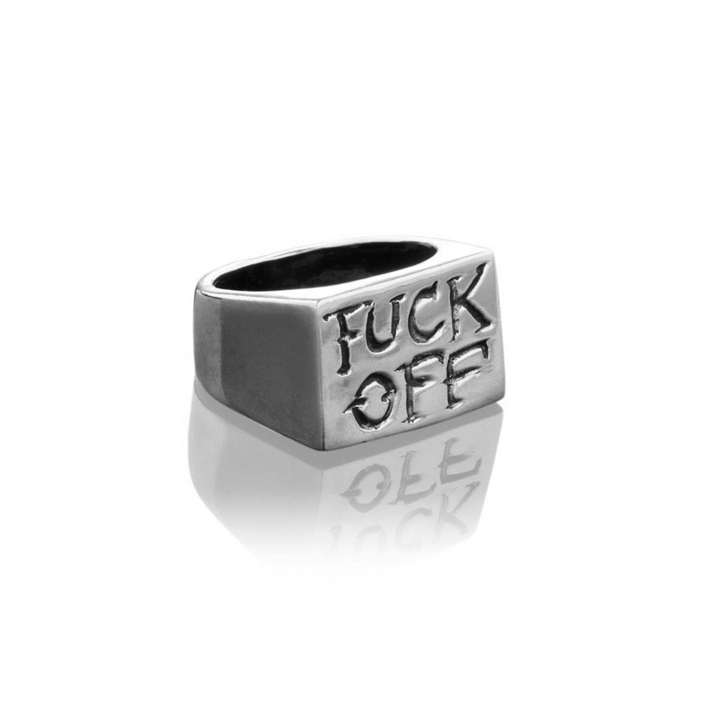 Fuck Off Rectangular Signet Ring