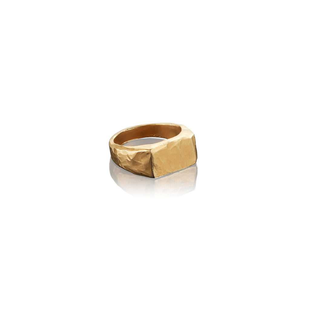 Small Hammered Rectangle Signet Ring