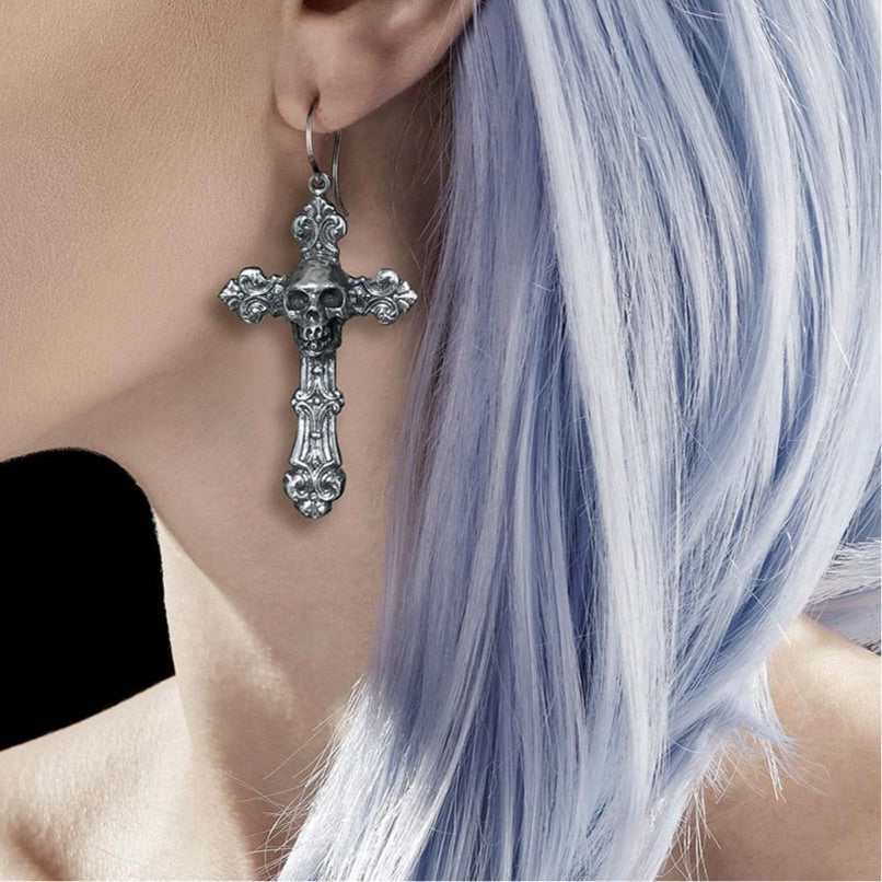 Skull Crucifix Earring