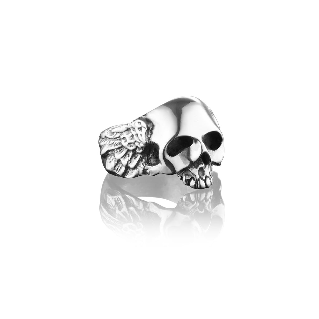 Winged Jawless Skull Ring