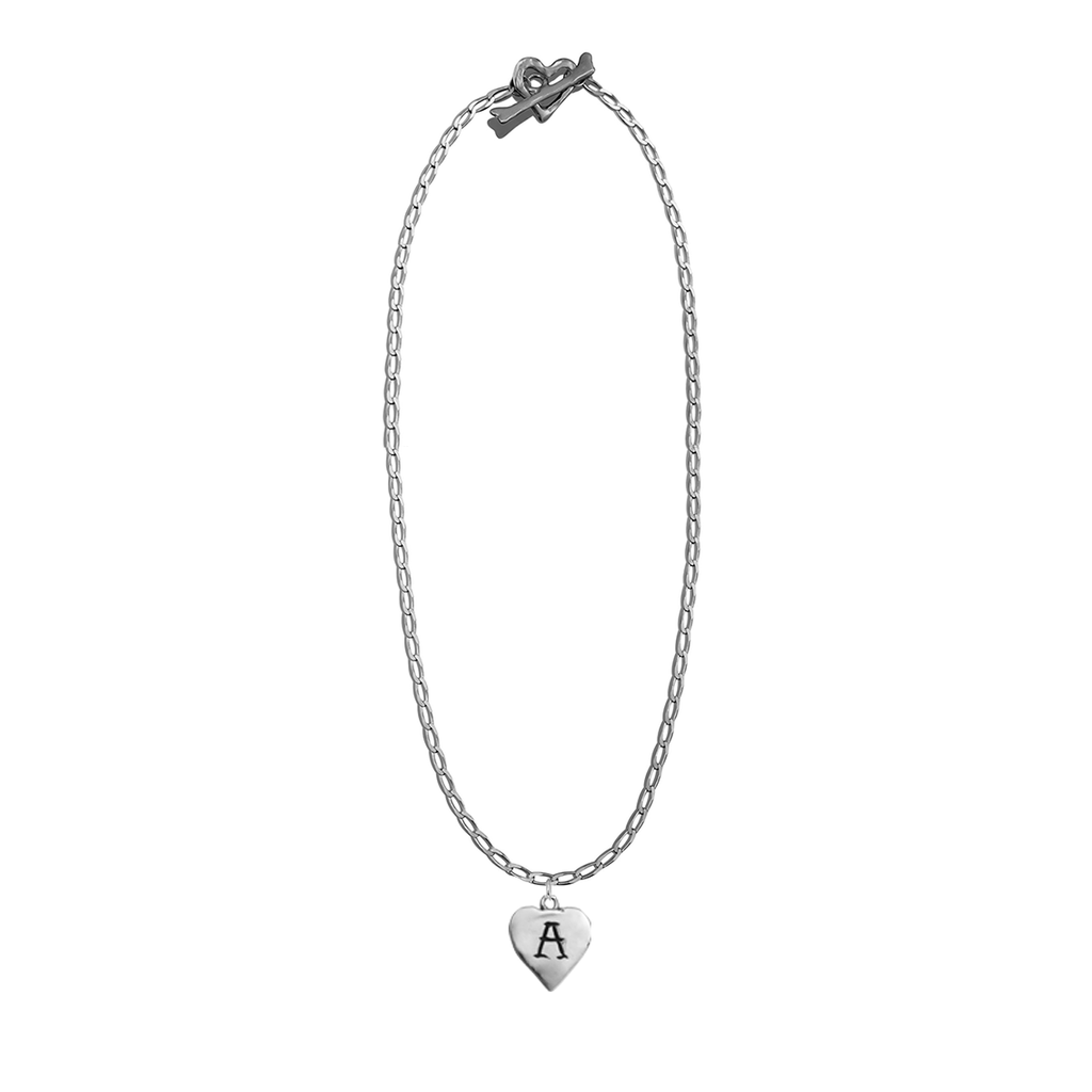 Fine Curb Cut Chain with Initial Heart Charm