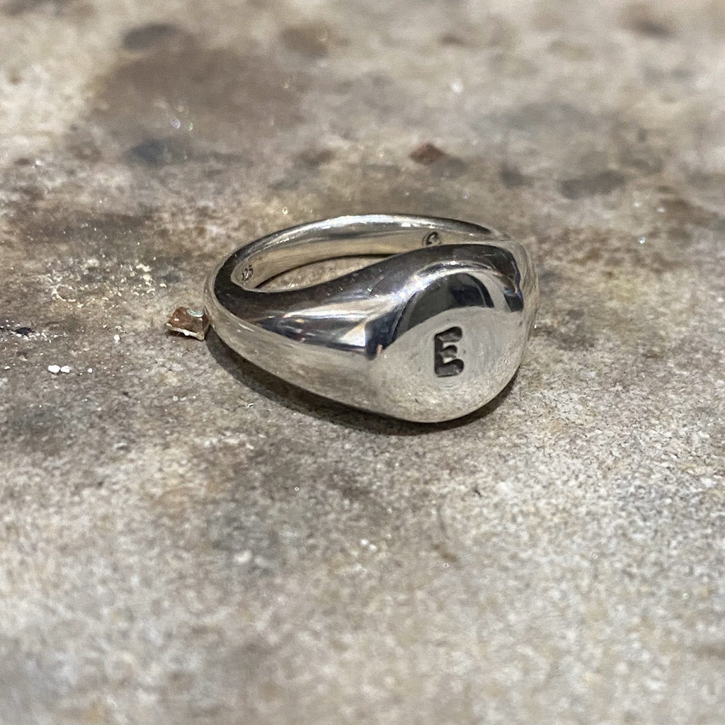 Initial Stamped Circle Signet Ring