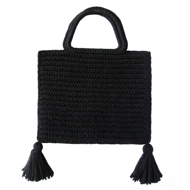 Handcrafted Cotton Tassel Tote bag in Black by Binge Knitting