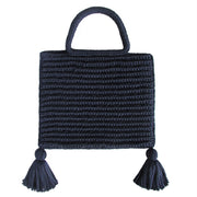 Handcrafted Cotton Tassel Tote bag in Navy by Binge Knitting