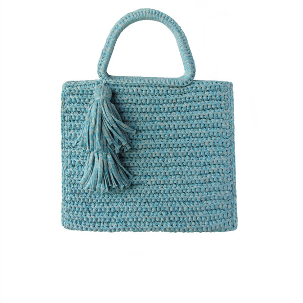 Handcrafted Cotton Tassel Tote bag in Marled Blue by Binge Knitting