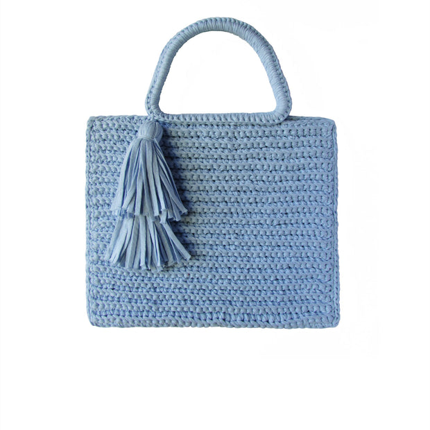 Handcrafted Cotton Tassel Tote bag in Powder Blue by Binge Knitting
