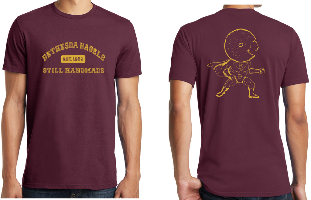 Burgundy & Gold Bethesda Bagels Tees