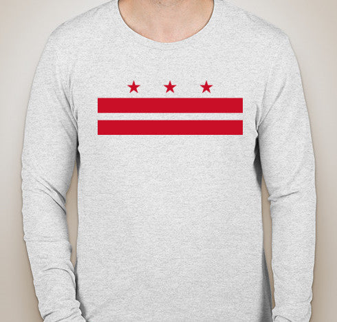 Heather White DC Flag Tri-Blend Long Sleeve