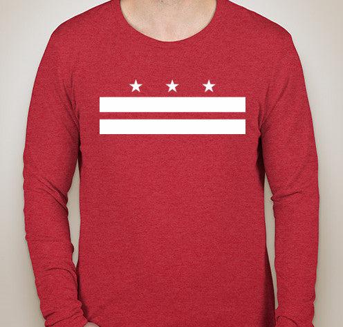 Vintage Red DC Flag Tri-Blend Long Sleeve