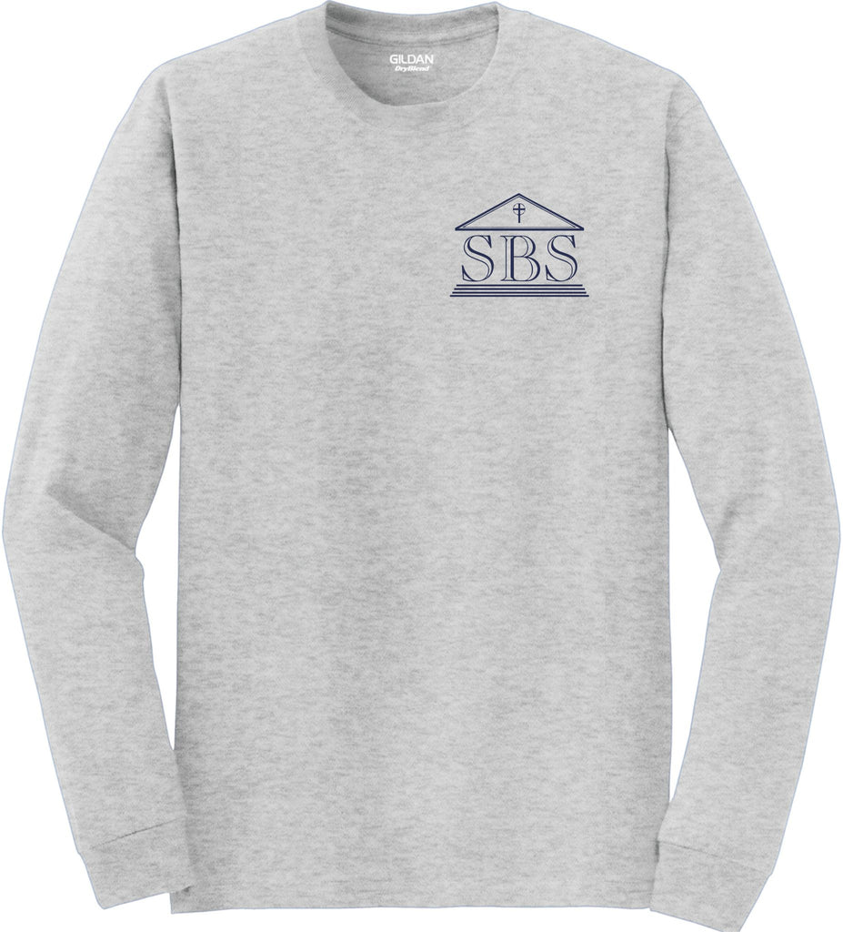 SBS Ash Gray Long Sleeve T-Shirt with logo