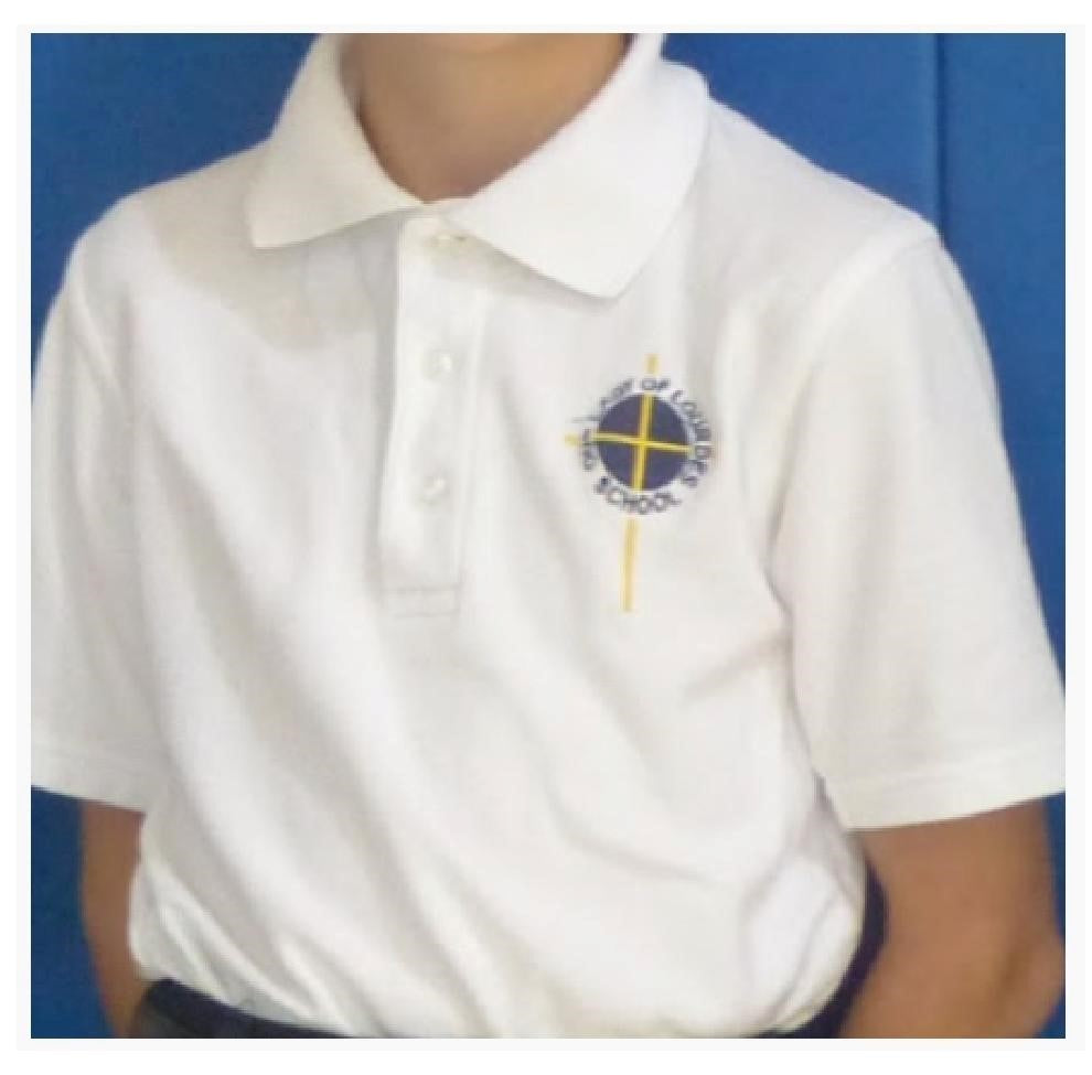 White Short Sleeve Polo Shirt with Logo- K-8 Uniform