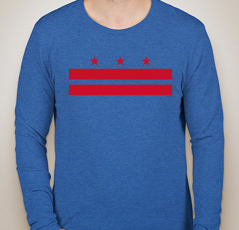 Vintage Royal DC Flag Tri-Blend Long Sleeve