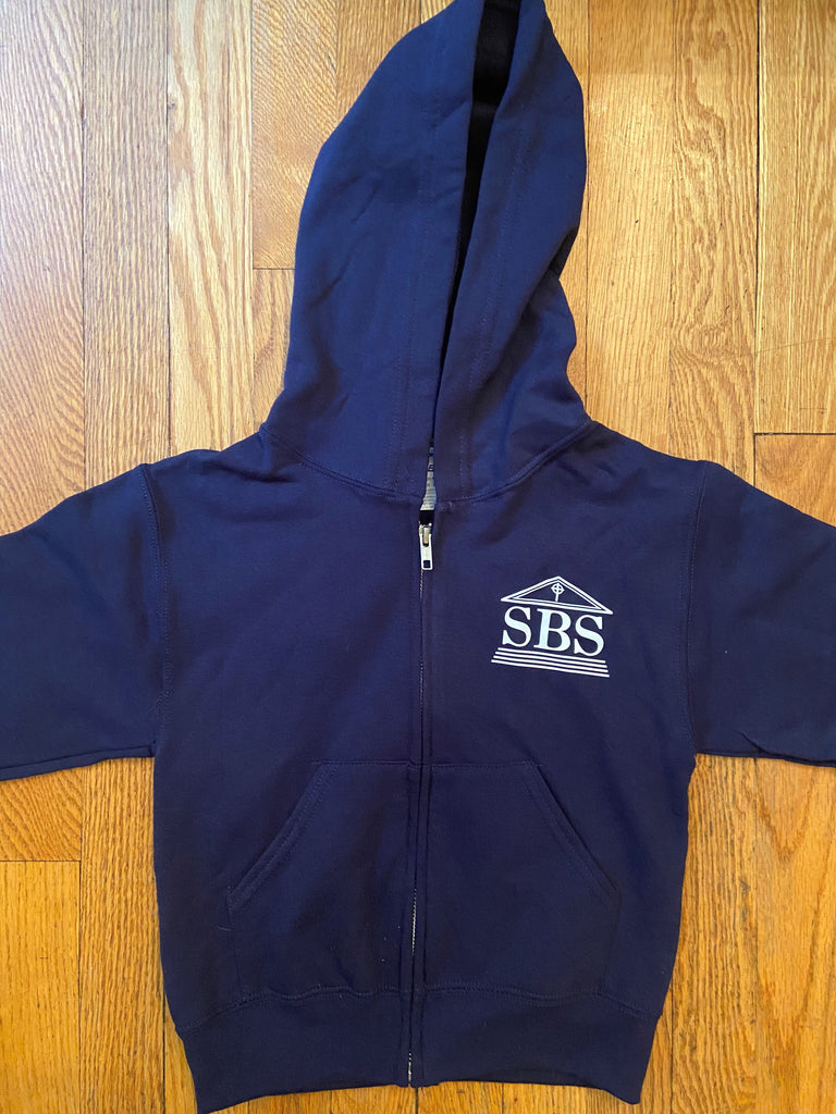 SBS Navy Blue Zip-Front Hooded Sweatshirt with logo