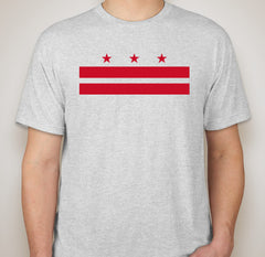Heather White DC Flag Tri-Blend Tee