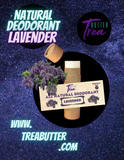 Trea Butter's all-natural deodorant is an eco-friendly and biodegradable packaged deodorant that works for up to 24 hours neutralizing underarm odor. Safe for children and adults, this deodorant comes in a variety of unisex floral scents such as: rose, ylang ylang and lavender. It has a very smooth application that doesn't leave behind a inconvenient  clumps or clog sweat glands like many mass produced deodorants on the market today, aluminum-free and hand-crafted with care.
