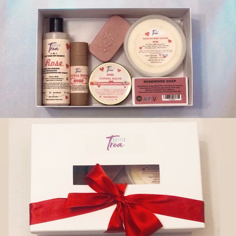 Women's V Day Gift Set includes one Geranium Rose scented Body wash Shampoo, one Natural Deodorant (Geranium Rose), one Herbal Salve (Geranium Rose)  1 five ounce Bar Soap (Geranium Rose & Cedarwood), and one 6 ounce Body Butter (Geranium Rose)