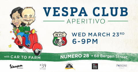 Vespa Club NYC Aperitivo at Numero 28 Pizzeria & Cucina in Cobble Hill, Brooklyn