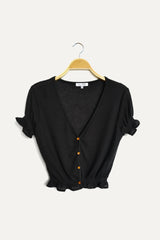 Knit Short Sleeve Blouse - Black