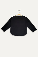 Knit Long Sleeve Blouse - Black
