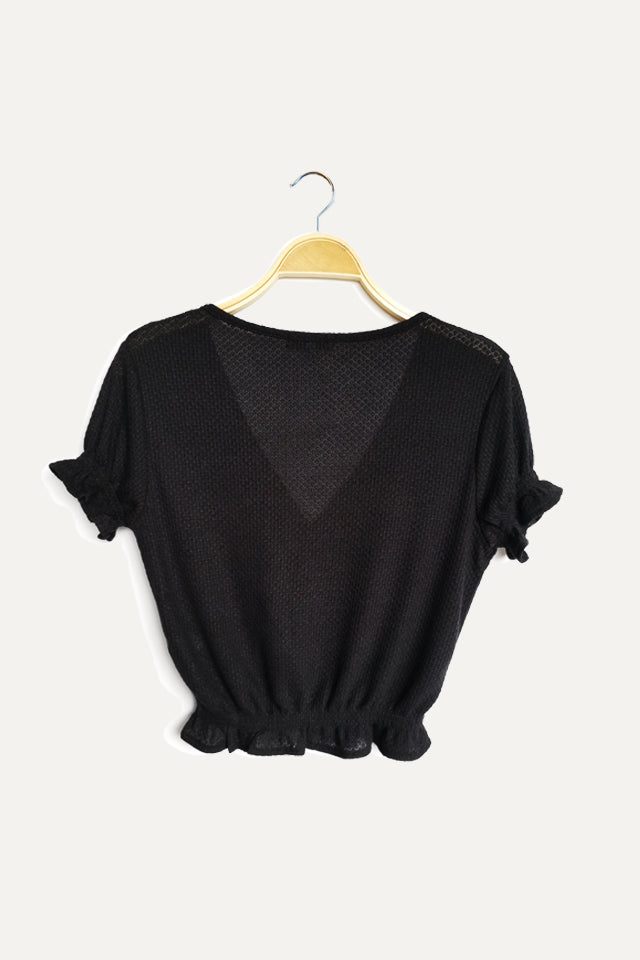 Women Knit Short Sleeve Blouse - Black