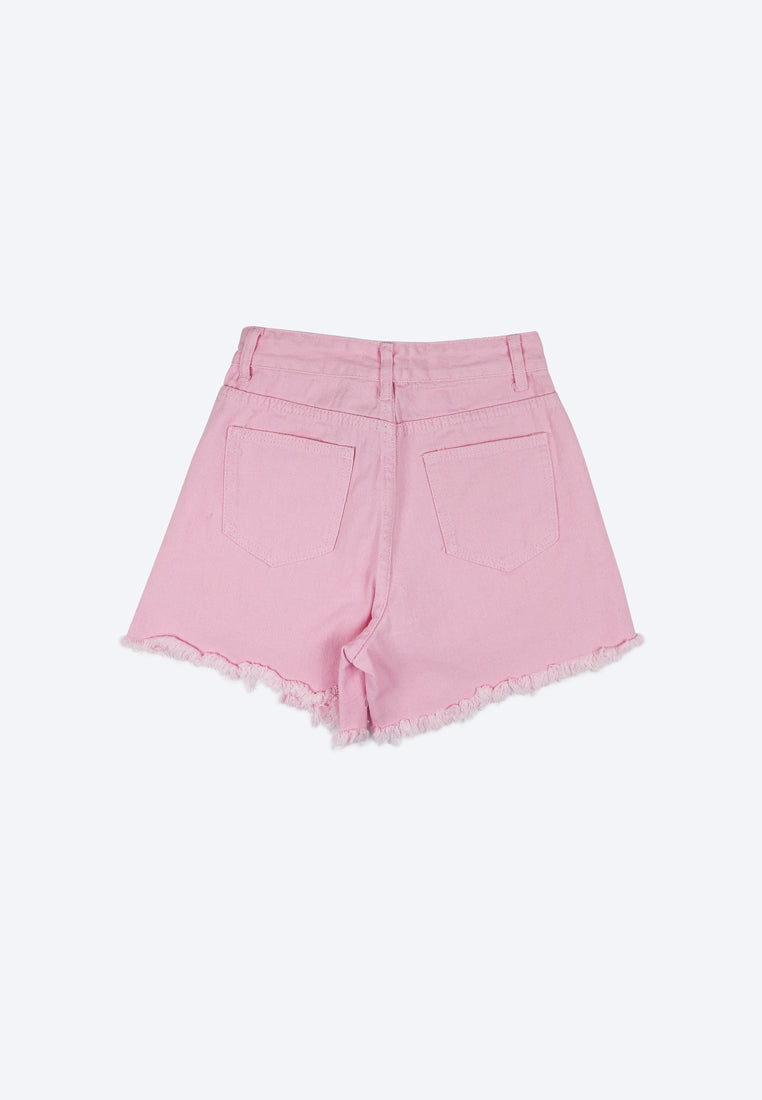 Women High Rise Ripped Short Jeans - Pink