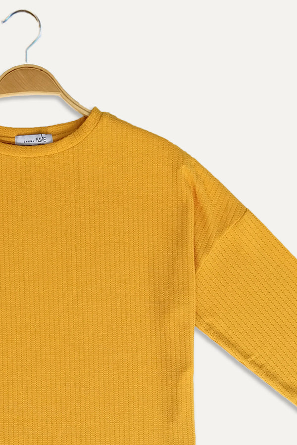 Knit Long Sleeve Blouse - Yellow