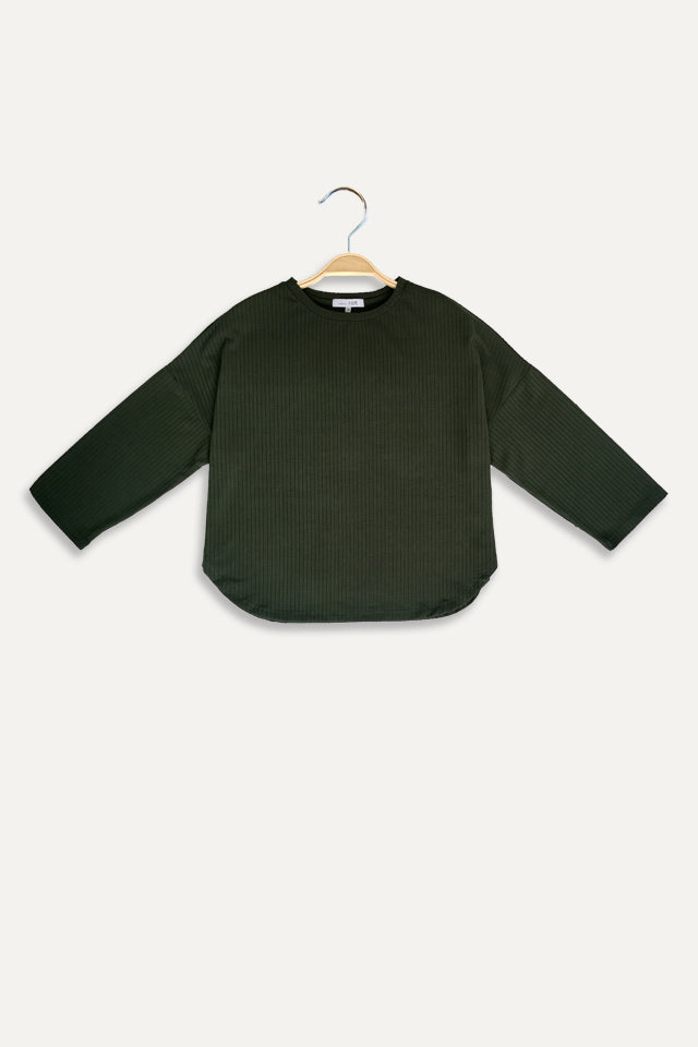 Knit Long Sleeve Blouse - Green