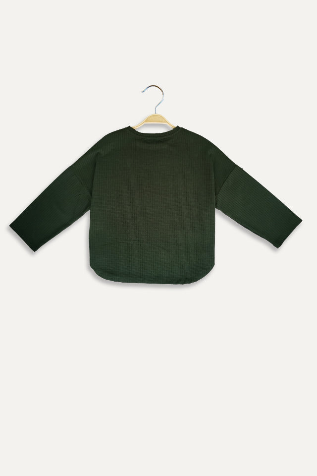 Women Knit Long Sleeve Blouse - Green