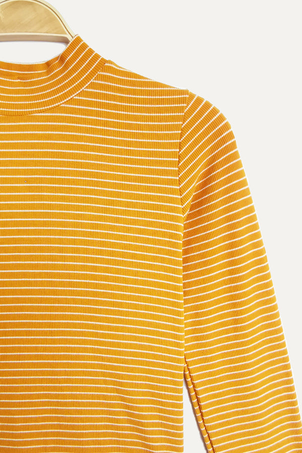 Ribbed Stripe Long Sleeve Turtle Neck Blouse - Yellow