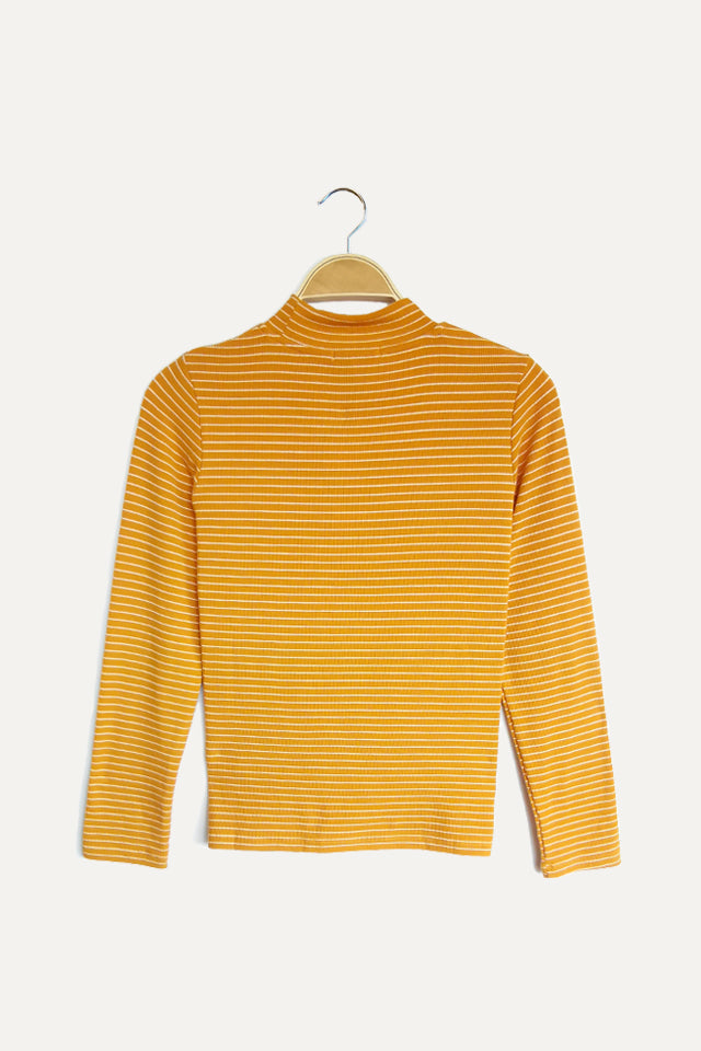Women Ribbed Stripe Long Sleeve Turtle Neck Blouse - Yellow - YCM20F2092