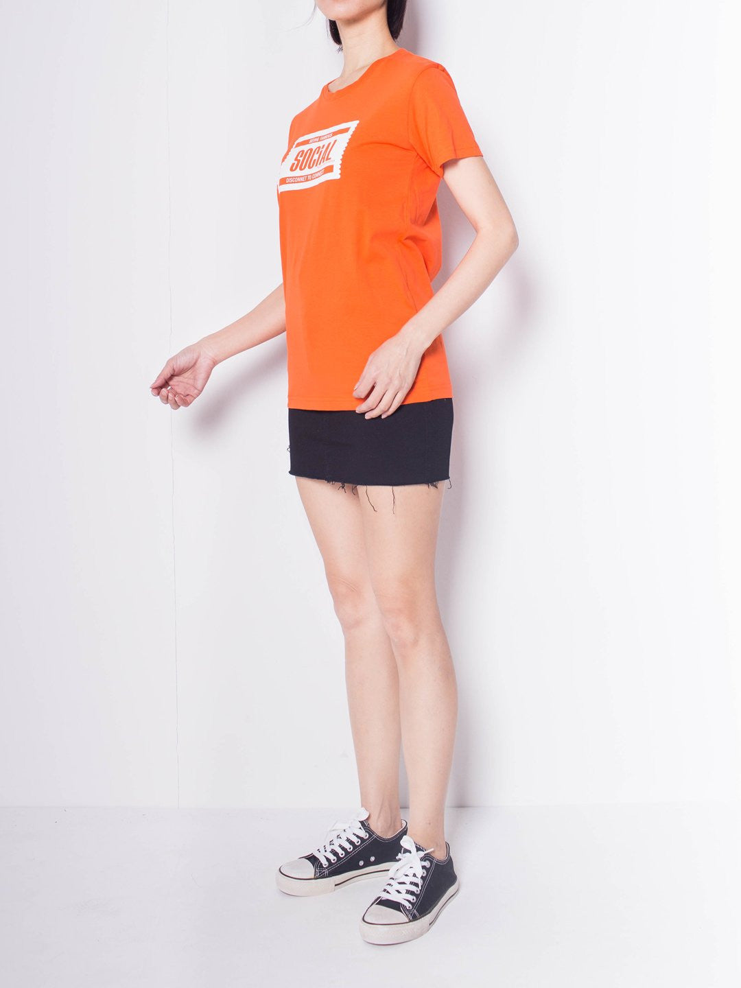 Women Graphic Short Sleeve T-Shirt - Orange