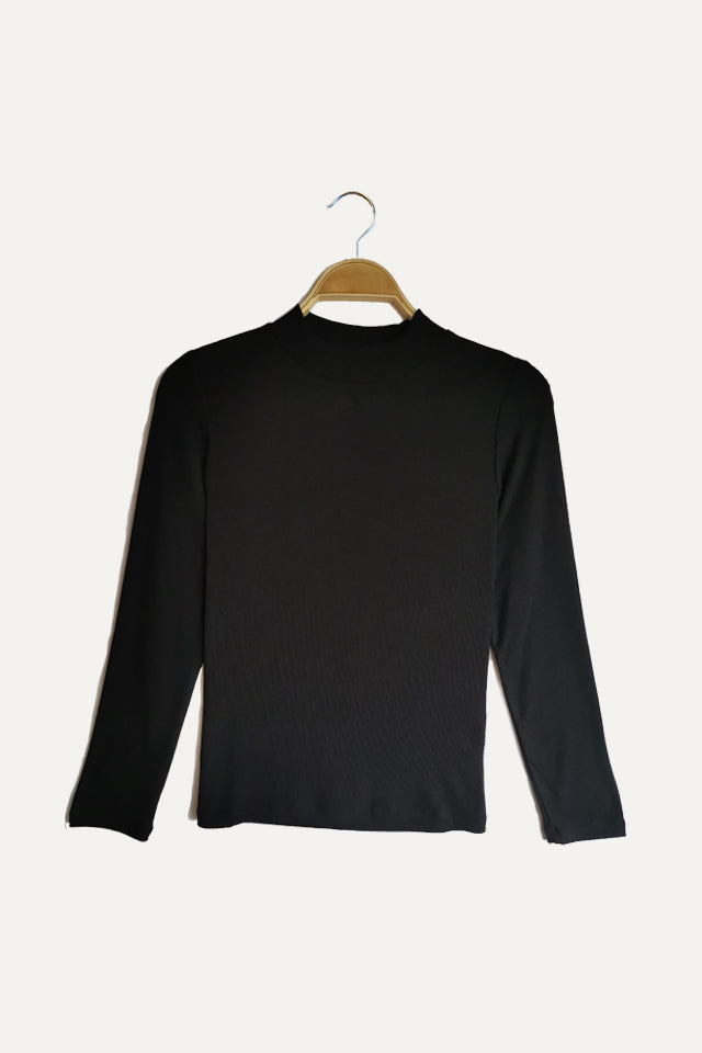 Women Ribbed  Long Sleeve Turtle Neck Blouse - Black