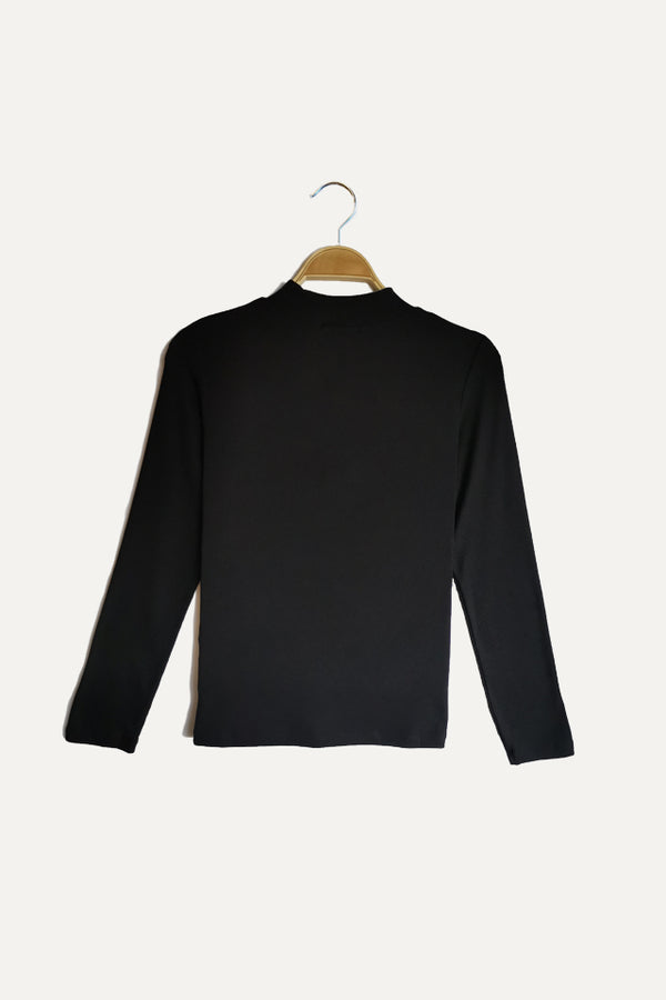 Ribbed  Long Sleeve Turtle Neck Blouse - Black