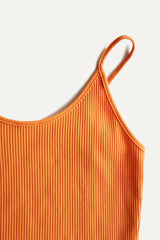 Adjustable Ribbed Camisole - Orange