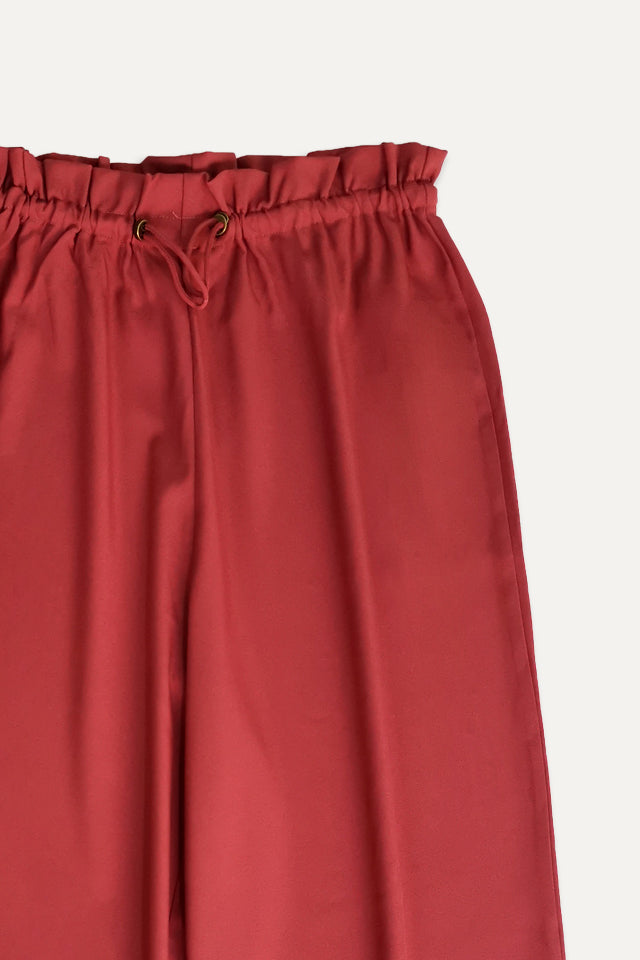 Women Paperbag Woven Culottes - Dark Red - STM20F2122