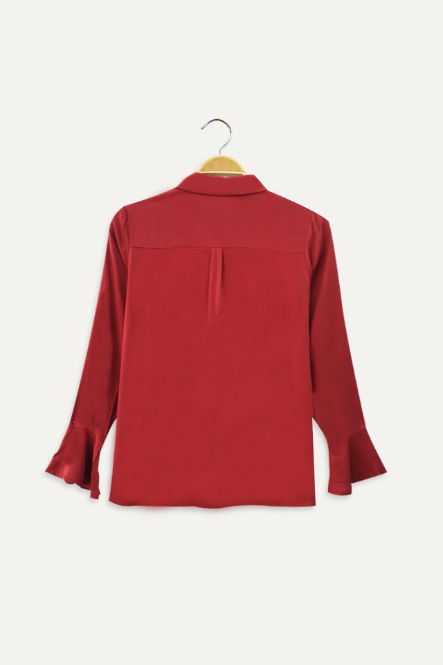 Plain Long Ruffle Sleeve Shirt - Dark Pink
