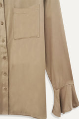 Plain Long Ruffle Sleeve Shirt - Khaki