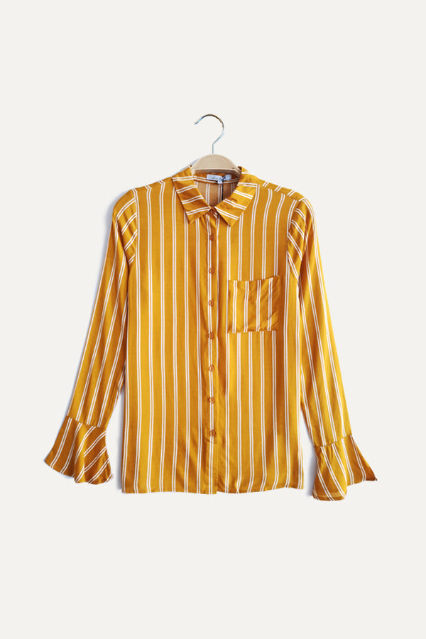 Stripe Long Ruffle Sleeve Shirt - Yellow