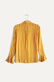 Women Stripe Long Ruffle Sleeve Shirt - Yellow