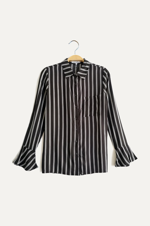 Stripe Long Ruffle Sleeve Shirt - Black