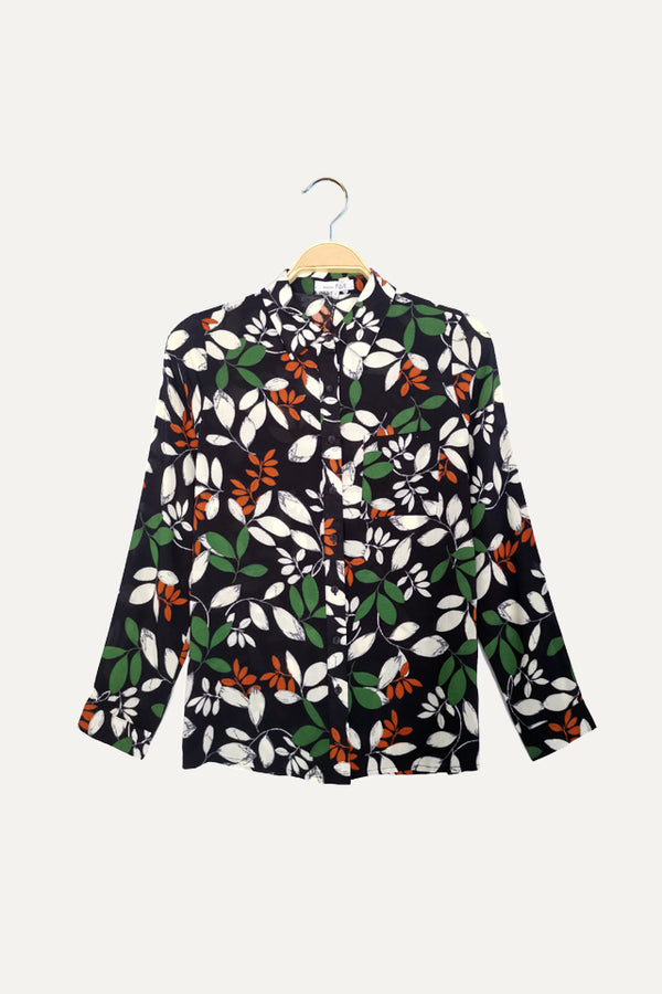 Floral Long Sleeve Shirt - Black
