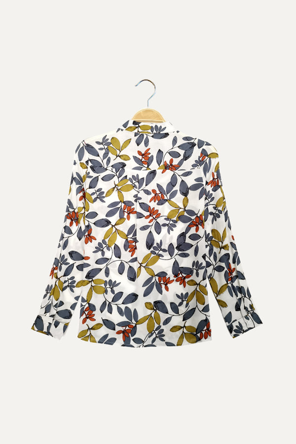 Floral Long Sleeve Shirt - White