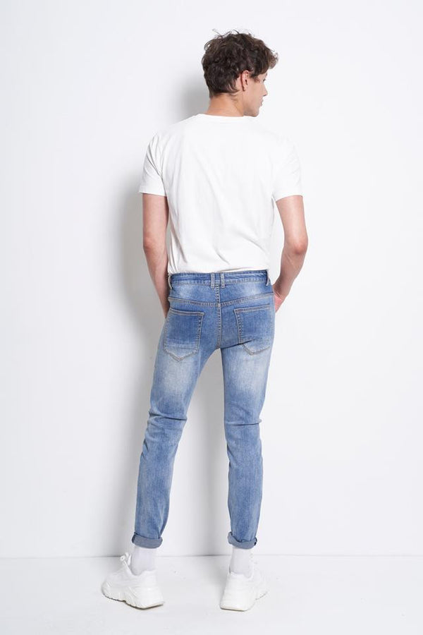 Men Slim Fit Long Jeans - Blue