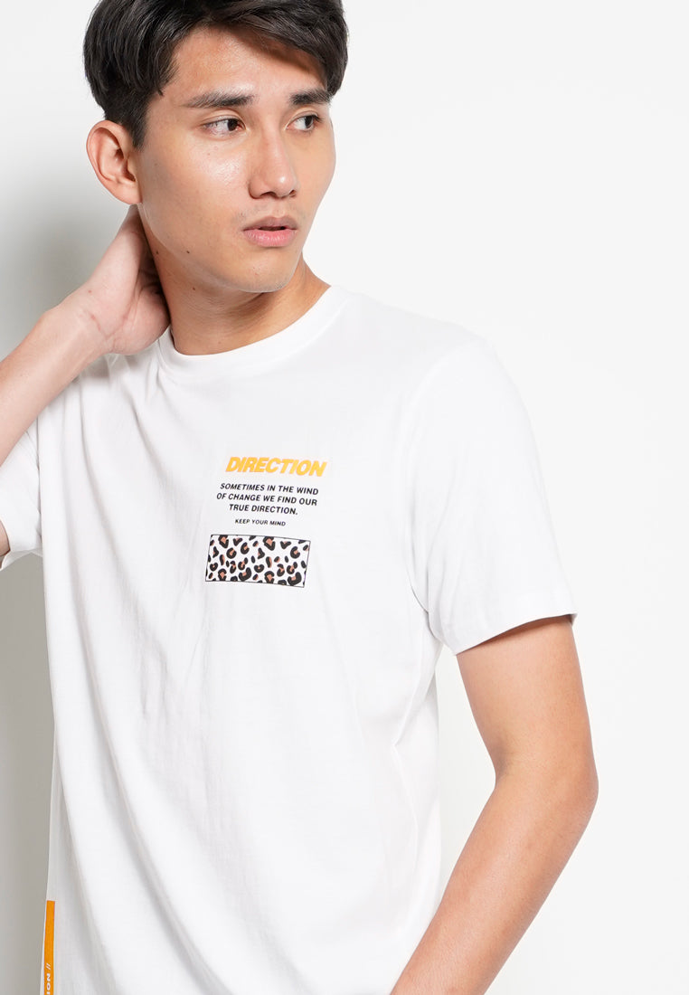 Men Graphic Short Sleeve T-Shirt - White