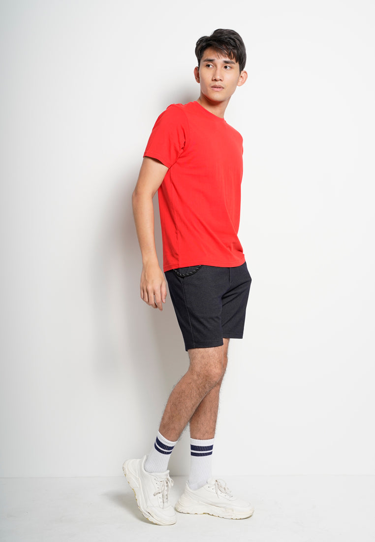 Men 100% Cotton Plain Tee - Red