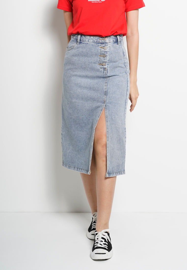 Women Long Skirt Jeans - Blue